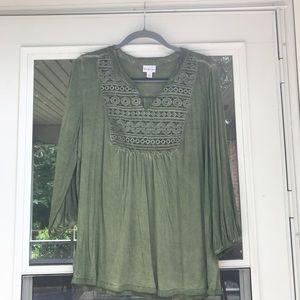 Green semi casual blouse